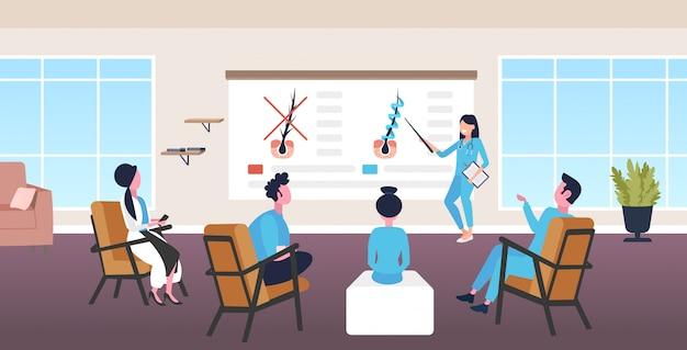 Dermatologista explicando a estrutura do folículo piloso para os médicos da equipe tratamento de fortalecimento da queratina Vetor Premium