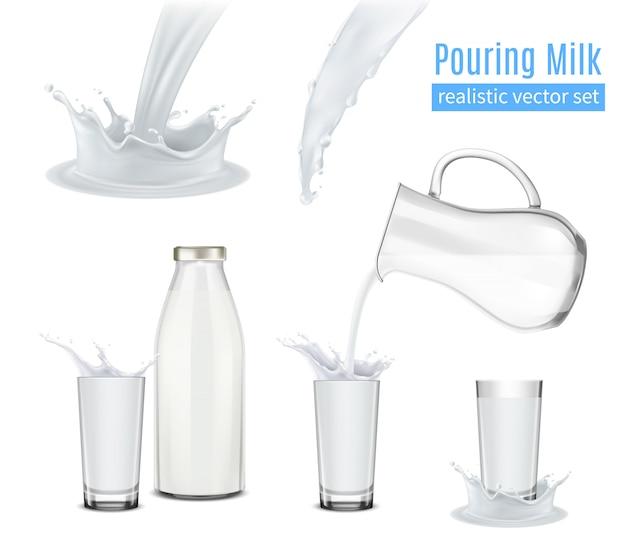 Derramando leite composição realista Vetor grátis
