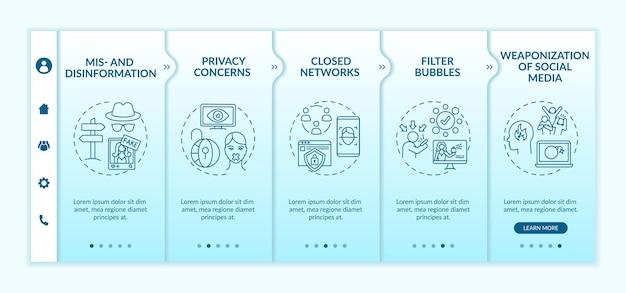 Desafios de mídia social para o modelo de integração de jornalistas. preocupações com a privacidade. filtrar bolhas. site móvel responsivo com ícones. telas de passo a passo da página da web. Vetor Premium