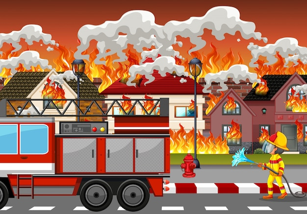 Desastre de fogo em aldeia Vetor Premium