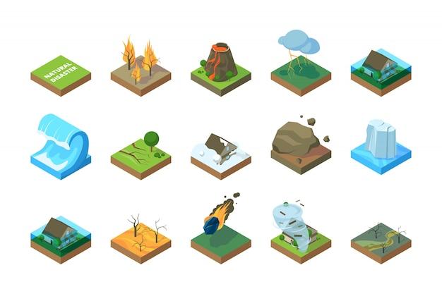 Desastre natural. mudança climática global ambiente terremoto tempestade tsunami incêndio na floresta inundação fotos isométrica Vetor Premium