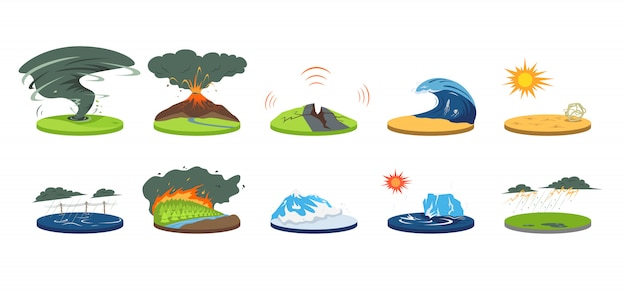 Desastres naturais cartum ilustração conjunto. condições climáticas extremas. catástrofe, cataclismo. inundação, avalanche, furacão. terremoto, tsunami. calamidades de cor em branco Vetor Premium