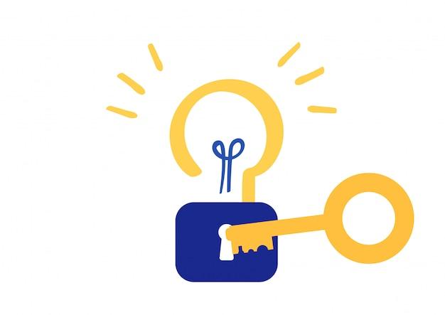 Desbloquear o vetor de símbolo de criatividade de ideia Vetor Premium