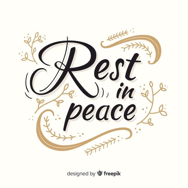 Descanse em letras de paz Vetor grátis