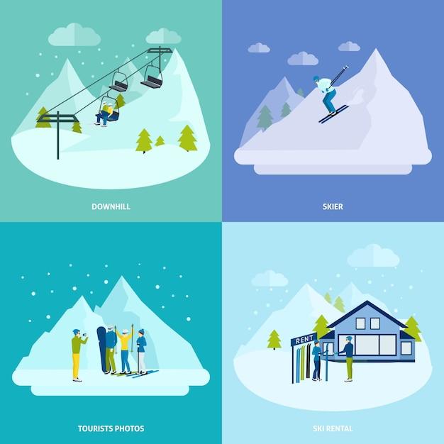 Descanso ativo de inverno no conjunto de conceito de design de montanhas Vetor grátis