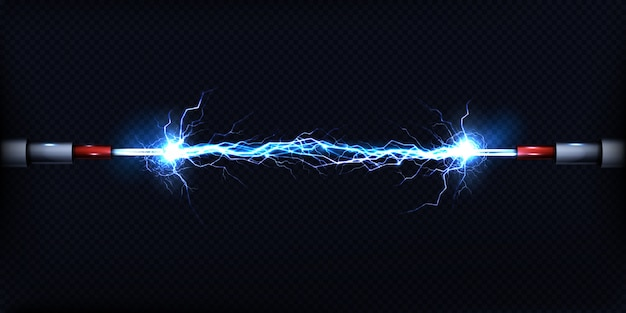 Descarga elétrica passando pelo ar entre dois pedaços de fios nus Vetor grátis