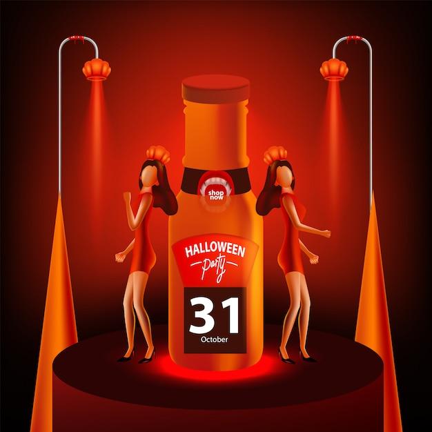 Desconto banner de venda com as mulheres no halloween Vetor Premium