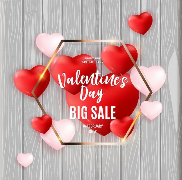 Desconto de banner de grande venda de dia dos namorados Vetor Premium