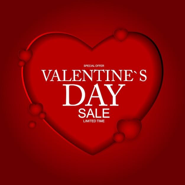 Desconto de banner de venda do dia dos namorados Vetor Premium