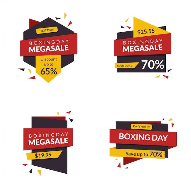 Desconto de banner do dia de boxe para promoção de sinal de venda de oferta de mercado de publicidade loja com estilo moderno Vetor Premium