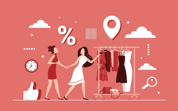 Desconto de compras no conceito de roupas femininas, venda sazonal Vetor Premium