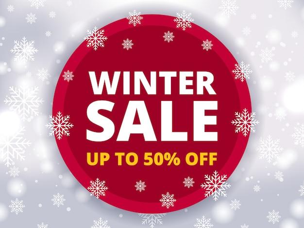 Desconto de venda de inverno Vetor Premium
