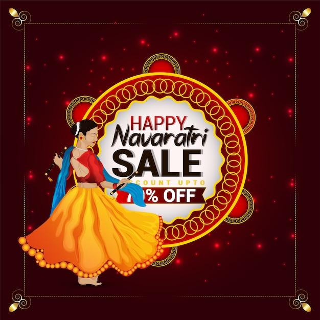 Desconto de venda especial de navratri feliz com ilustração criativa de garota dandiya Vetor Premium