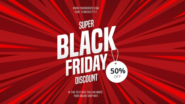 Desconto moderno do super black friday sale banner com estilo cômico Vetor grátis