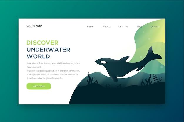 Descubra a página de aterragem subaquática Vetor Premium