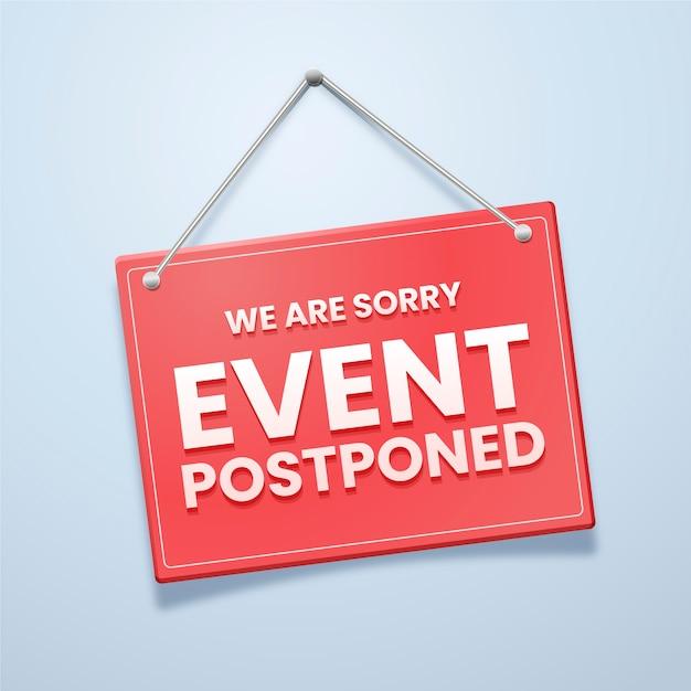 Desculpe, o evento foi adiado Vetor grátis