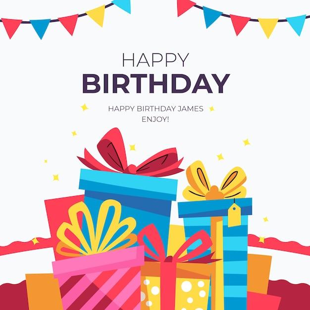Desejo de aniversário instagram post com presentes Vetor grátis