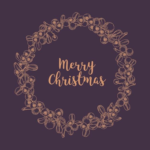 Desejo de feliz natal dentro de uma grinalda ou guirlanda circular feita de mirtilos desenhados com linhas de contorno no espaço escuro Vetor Premium