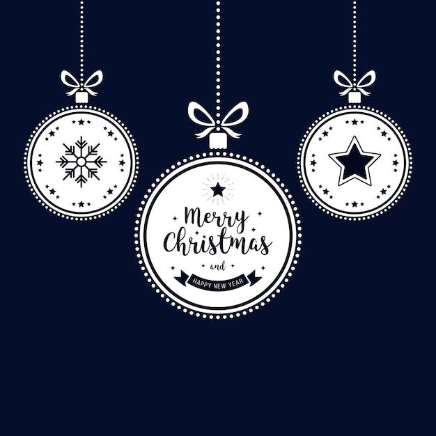 Desejos de natal enfeites enfeites de ouro pendurado fundo azul Vetor Premium
