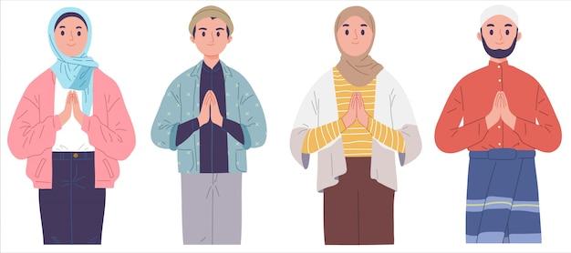 Desejos muçulmanos saudação eid mubarak fitr feriado islâmico Vetor Premium