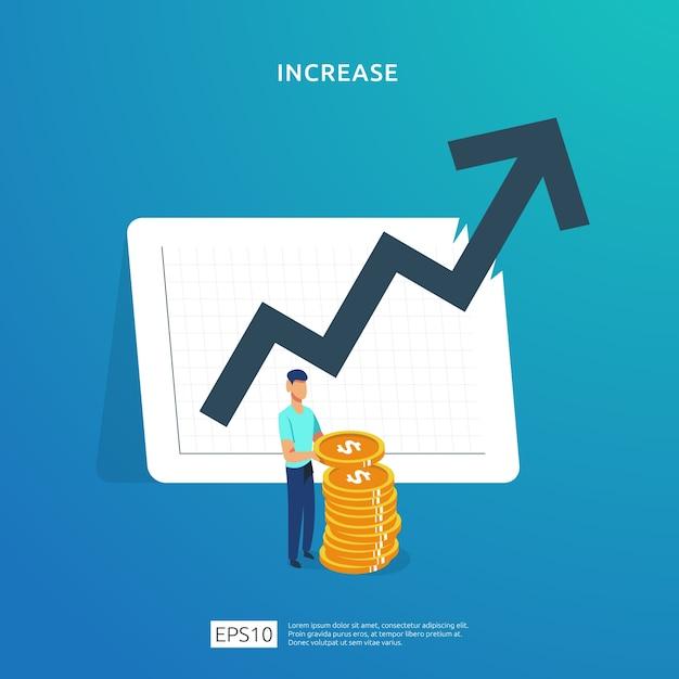 Desempenho financeiro do retorno sobre o investimento roi. Vetor Premium