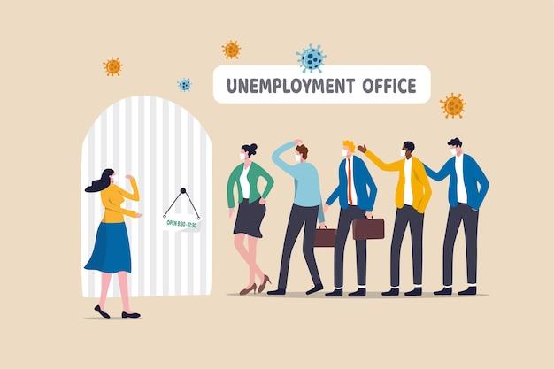 Desemprego, desemprego ou dispensa devido ao patógeno pandêmico do coronavirus. Vetor Premium