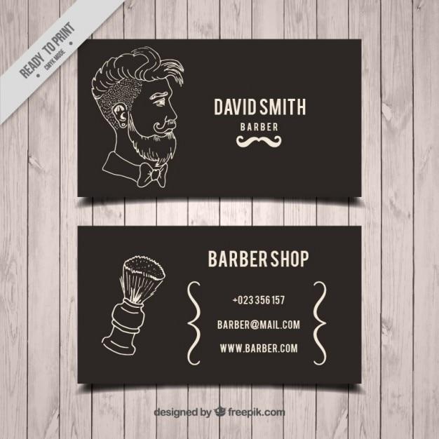 Desenhada homem mão e escova cartão de barbeiro Vetor grátis
