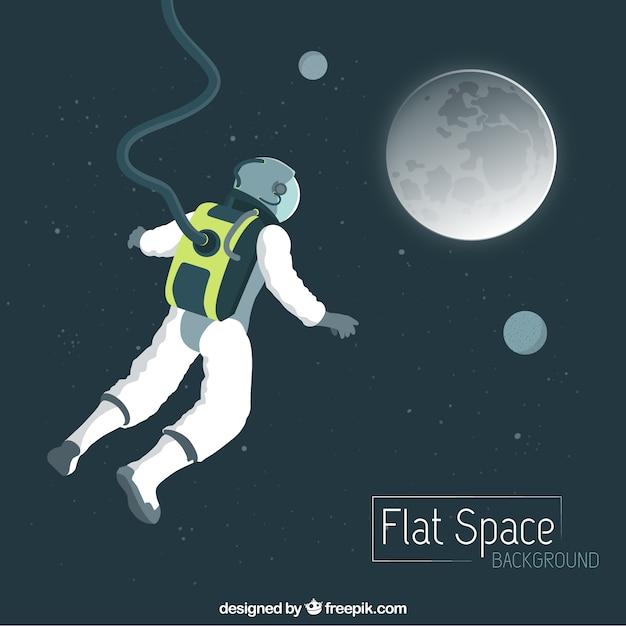 Desenhada mão do vôo do astronauta à lua Vetor grátis