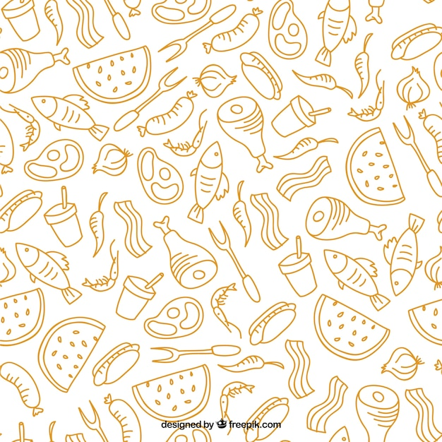 Desenhada padrão de churrasco e alimentos mão Vetor grátis