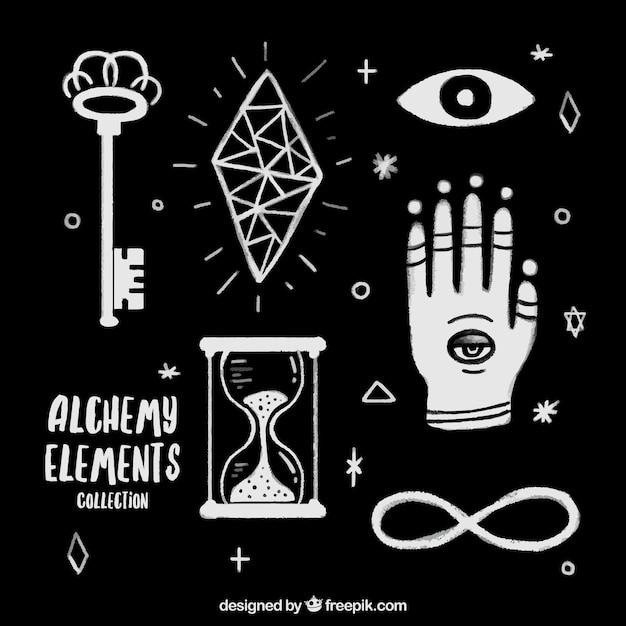 Desenhadas mão acessórios alquimia e símbolos definidos Vetor grátis
