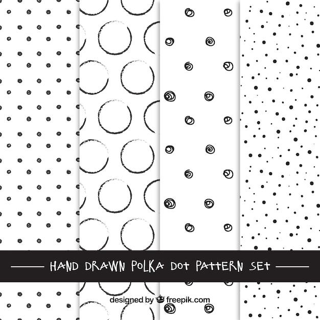 Desenhadas mão bolinhas padrões Vetor Premium