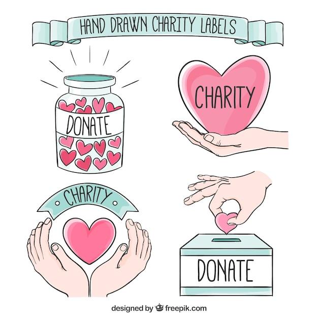 Desenhadas mão etiquetas bonitas caridade Vetor grátis