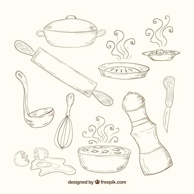 Desenhadas mão ferramentas de cozinha em estilo retrô Vetor grátis