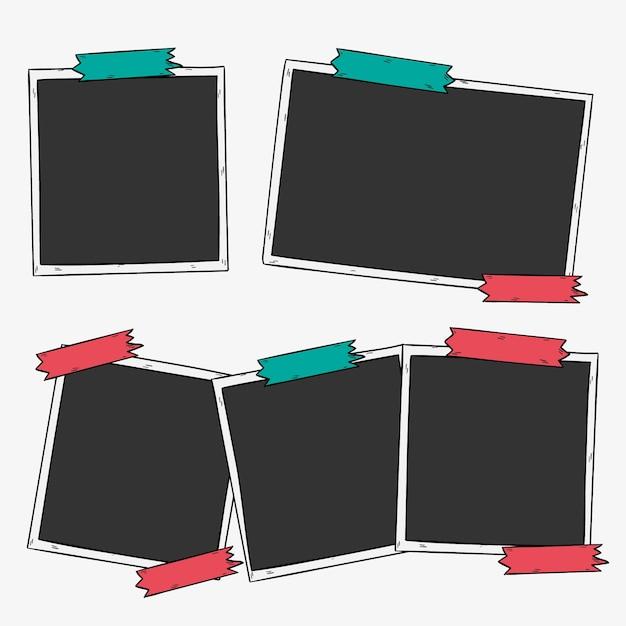 Desenhadas mão fotos com fita adesiva Vetor grátis