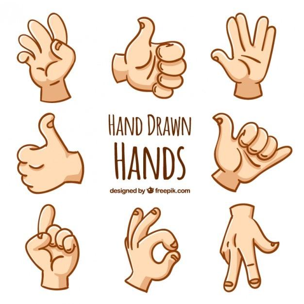 Desenhadas mão gestos com as mãos Vetor grátis