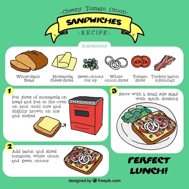 Desenhadas mão sanduíches receita Vetor grátis
