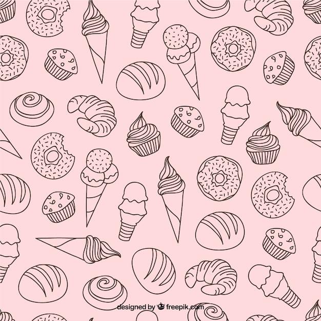 Desenhadas mão sobremesas e padrão de gelados Vetor grátis