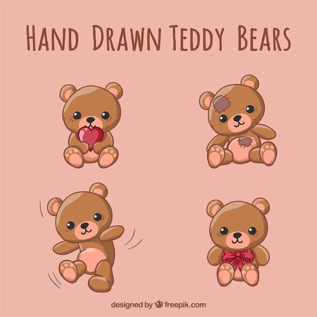 Desenhadas mão ursos de pelúcia Vetor Premium
