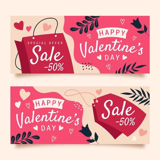 Desenhado à mão banners de venda do dia dos namorados com desconto Vetor grátis