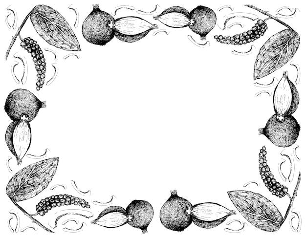 Desenhado à mão de peppercorn com shallots frame Vetor Premium
