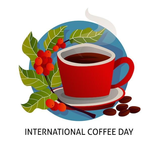 Desenhado à mão dia internacional do café Vetor grátis