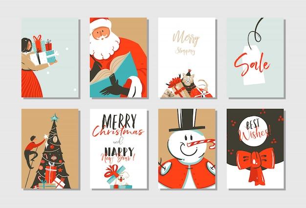 Desenhado à mão modelo de cartões de ilustração de tempo de coon feliz natal e feliz ano novo definido com árvore de natal, papai noel, boneco de neve e cães em fundo branco Vetor Premium