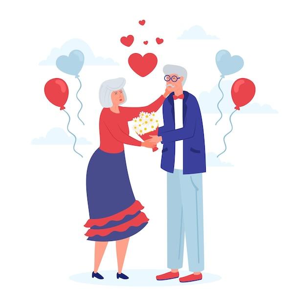 Desenhado à mão no dia internacional dos idosos com os avós Vetor grátis