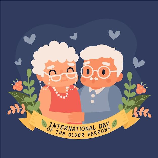 Desenhado à mão no dia internacional dos idosos Vetor grátis