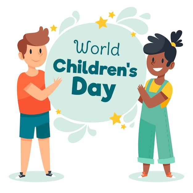 Desenhado à mão no dia mundial da criança Vetor grátis
