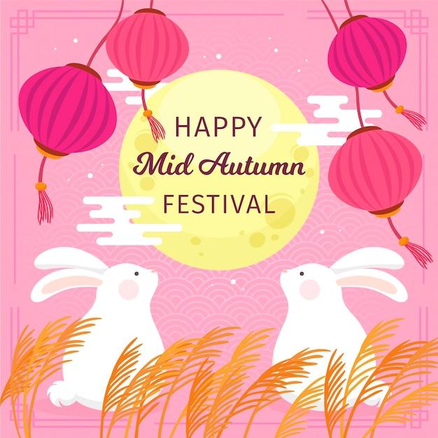 Desenhado à mão no festival do meio do outono com coelhos e lua Vetor grátis