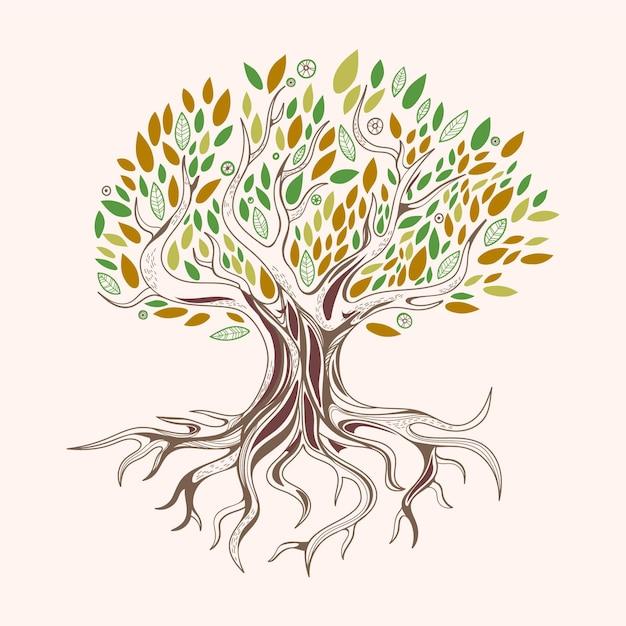 Desenhado à mão vida na árvore com folhas verdes e marrons Vetor grátis