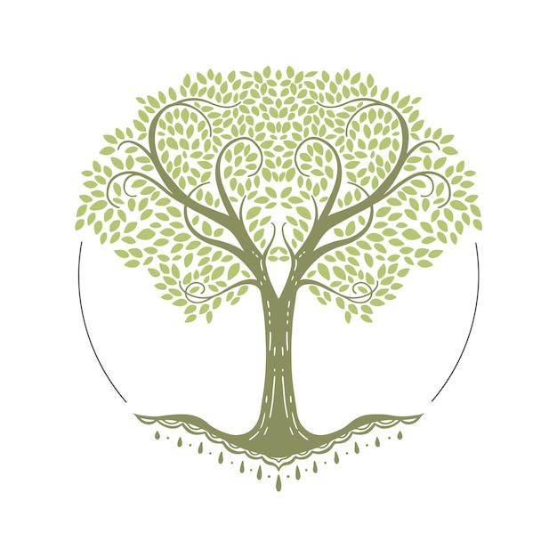 Desenhado à mão vida na árvore com lindos ramos Vetor Premium