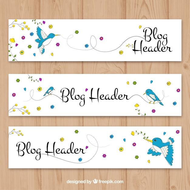 Desenhado mão blog cabeçalho com pássaro e flores Vetor grátis