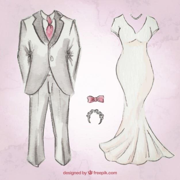 Desenhado mão terno do casamento e do vestido Vetor grátis